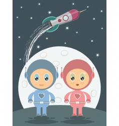 Space boy and girl vector