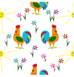 summer seamless pattern consisting of cock vector image