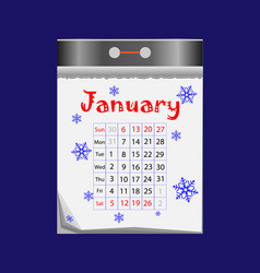 tear-off calendar icon in flat style on blue vector image