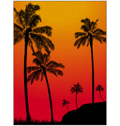 textured grain tropical background with palm trees vector image
