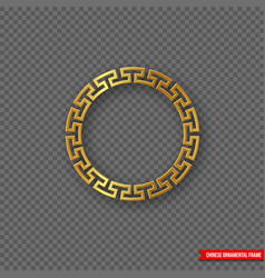 traditional chinese decorative golden round frame vector image