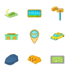 Transportation of people icons set cartoon style vector