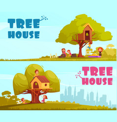 Tree house children horizontal banners vector