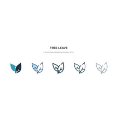 Tree leave icon in different style two colored vector