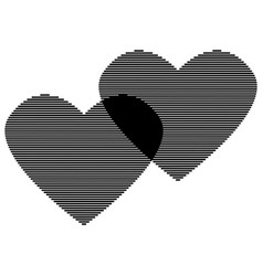 two hearts black line on white sign 3012 vector image