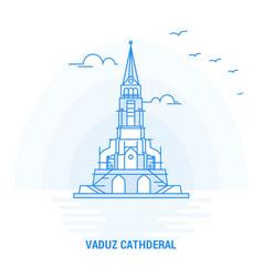 Vaduz cathderal blue landmark creative background vector