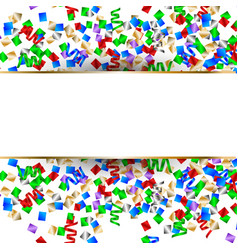 white banner with colorful confetti and colorful vector image