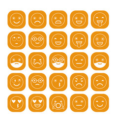 White linear flat icons of emoticons on orange vector