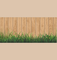 Wooden fence with green grass background vector