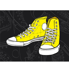 yellow sneakers vector image