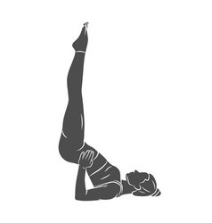 Young woman is engaged in yoga or pilates doing vector