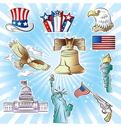 4th of july icons set vector image vector image