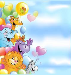 cartoon animals cheerful background vector image