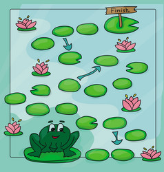 game template with frog in field background vector image
