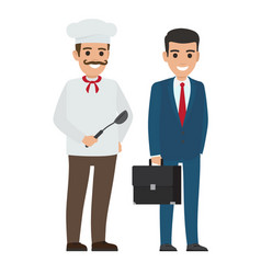 set of chef food and manager smiling persons vector image