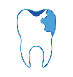 tooth with root and caries by side in blue vector image