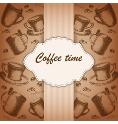 Vintage frame with hand-drawing sketch coffee vector image
