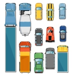 Cars and trucks top view set vector image vector image