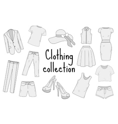Clothing set hand drawing sketch doodle style vector image