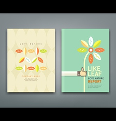 Cover annual report colorful leaf with flower vector image vector image