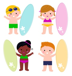 Cute little summer kids with surf set vector image