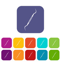 dental instrument probe icons set flat vector image vector image