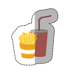 fries french and soda icon vector image