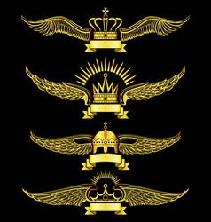 golden wing crown and ribbon royal logo set vector image vector image