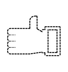 hand like ok technology social media vector image