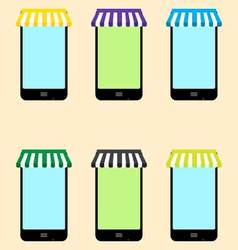 Mobile store set vector image vector image