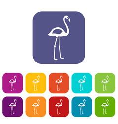 flamingo icons set flat vector image vector image