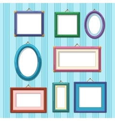 Picture frames on wall Flat photo frame set vector image vector image