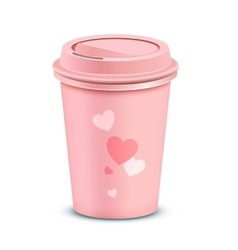 Pink coffee cup vector image vector image