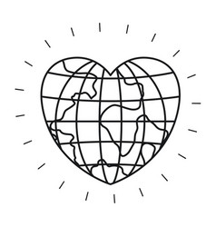 Silhouette front view globe earth world in heart vector