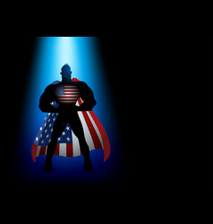superhero standing under blue light vector image vector image