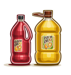 2 big red and yellow bottles with palm oil vector image vector image