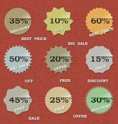 9 Vintage sale labels vector image vector image