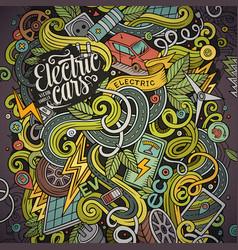 cartoon cute doodles electric cars vector image