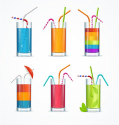 realistic cocktail glass template drink set vector image vector image