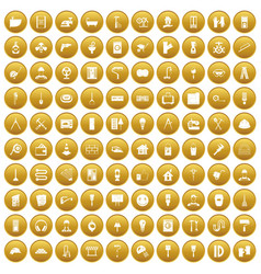 100 renovation icons set gold vector