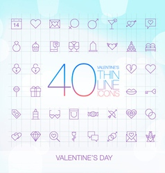 40 Trendy Thin Icons Valentines Day Set vector image