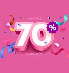 70 percent off discount creative composition 3d vector