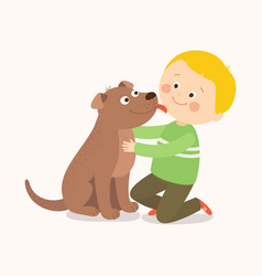 a little dog licking a boy s cheek best friends vector image