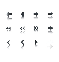 Arrows icon set with reflection vector image