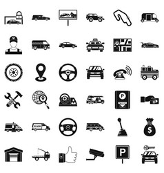 Auto icons set simple style vector