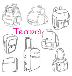 baggage themed doodle set vector image