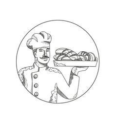 Baker holding bread on plate doodle art vector