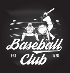 baseball or softball club badge on the chalkboard vector image