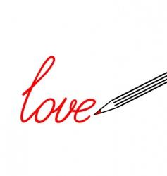 big pencil draw word love vector image