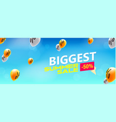 Biggest sale offer yellow balloons with symbols vector